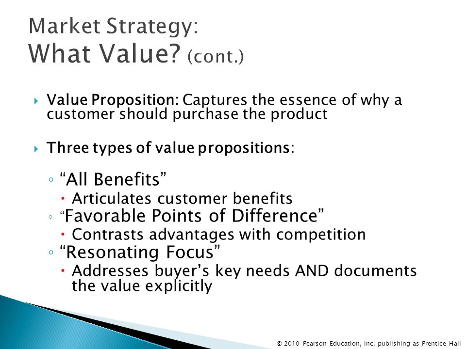 Market Strategy: What Value (cont.)