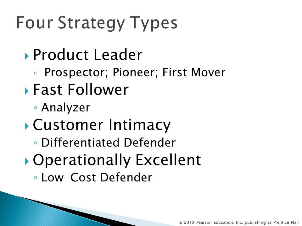 Four Strategy Types Product Leader Fast Follower Customer Intimacy
