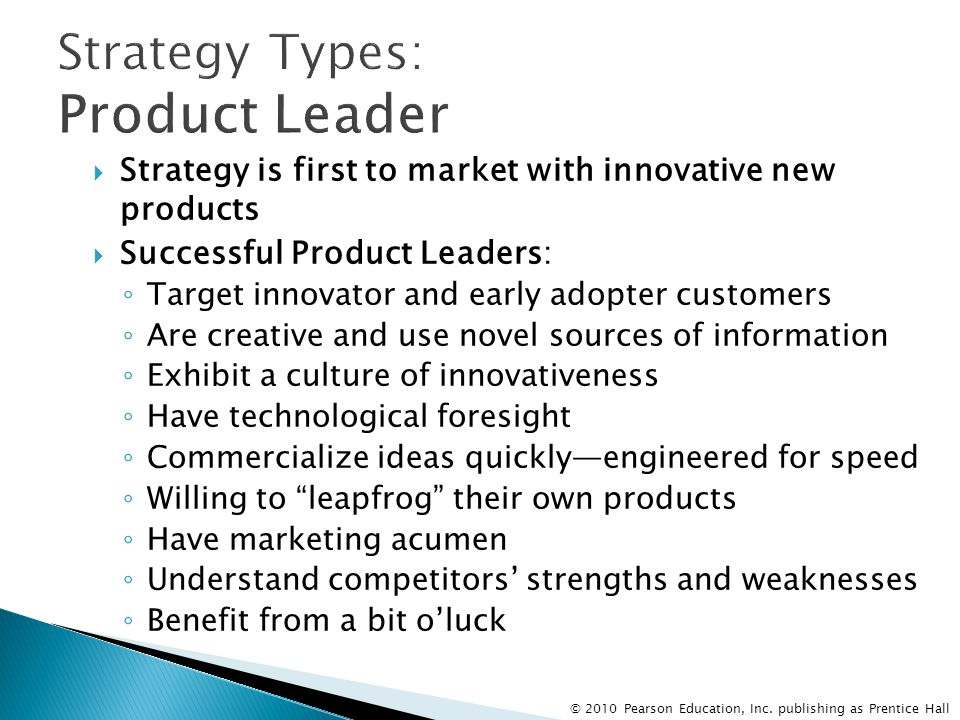 Strategy Types: Product Leader