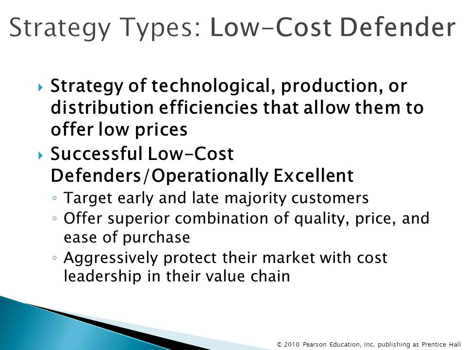 Strategy Types: Low-Cost Defender