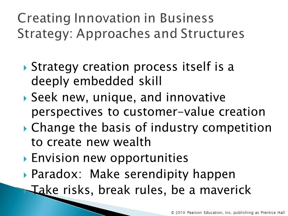 Creating Innovation in Business Strategy: Approaches and Structures
