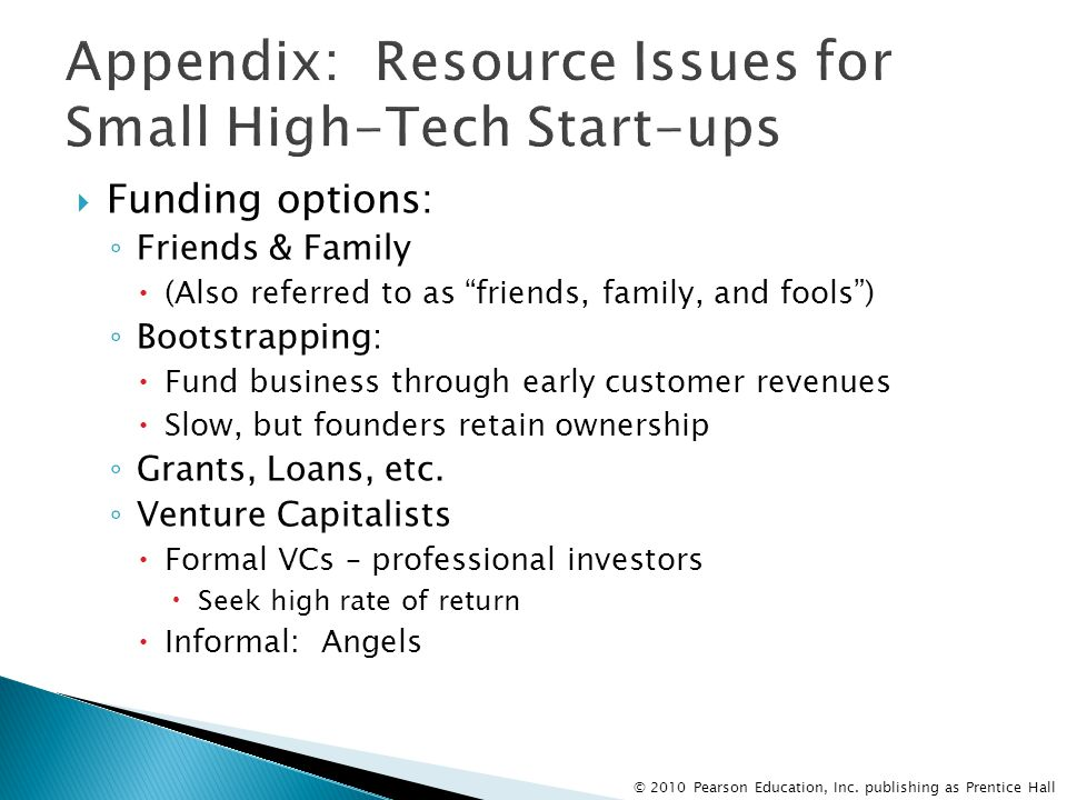 Appendix: Resource Issues for Small High-Tech Start-ups