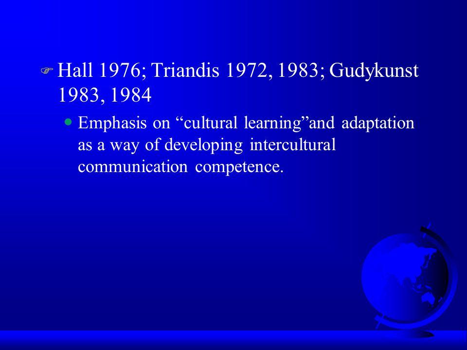 Hall 1976; Triandis 1972, 1983; Gudykunst 1983, 1984