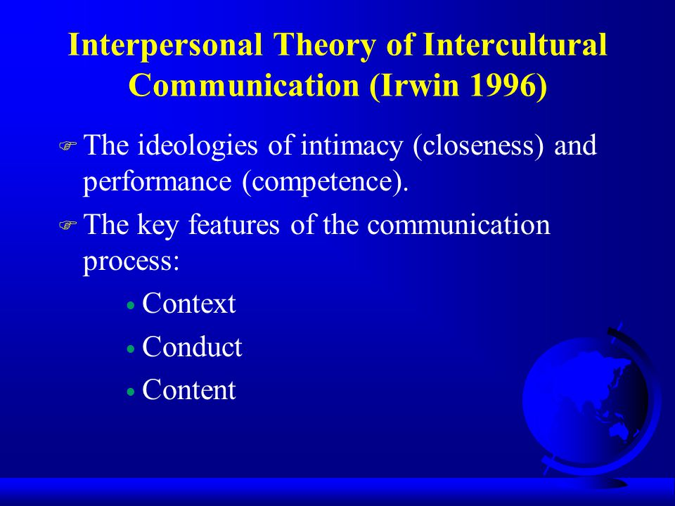 Interpersonal Theory of Intercultural Communication (Irwin 1996)