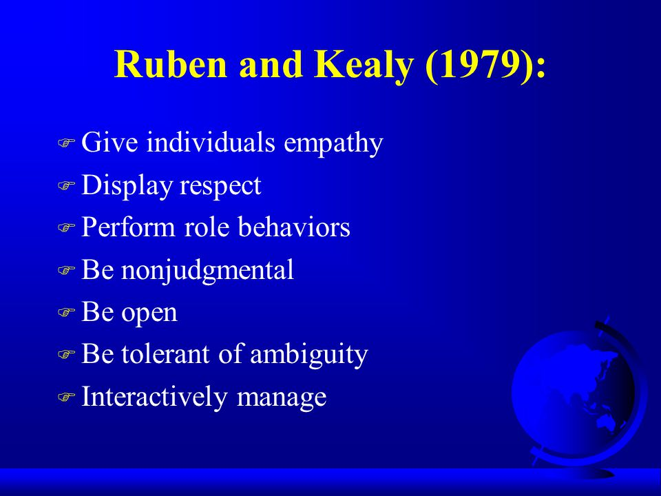 Ruben and Kealy (1979): Give individuals empathy Display respect