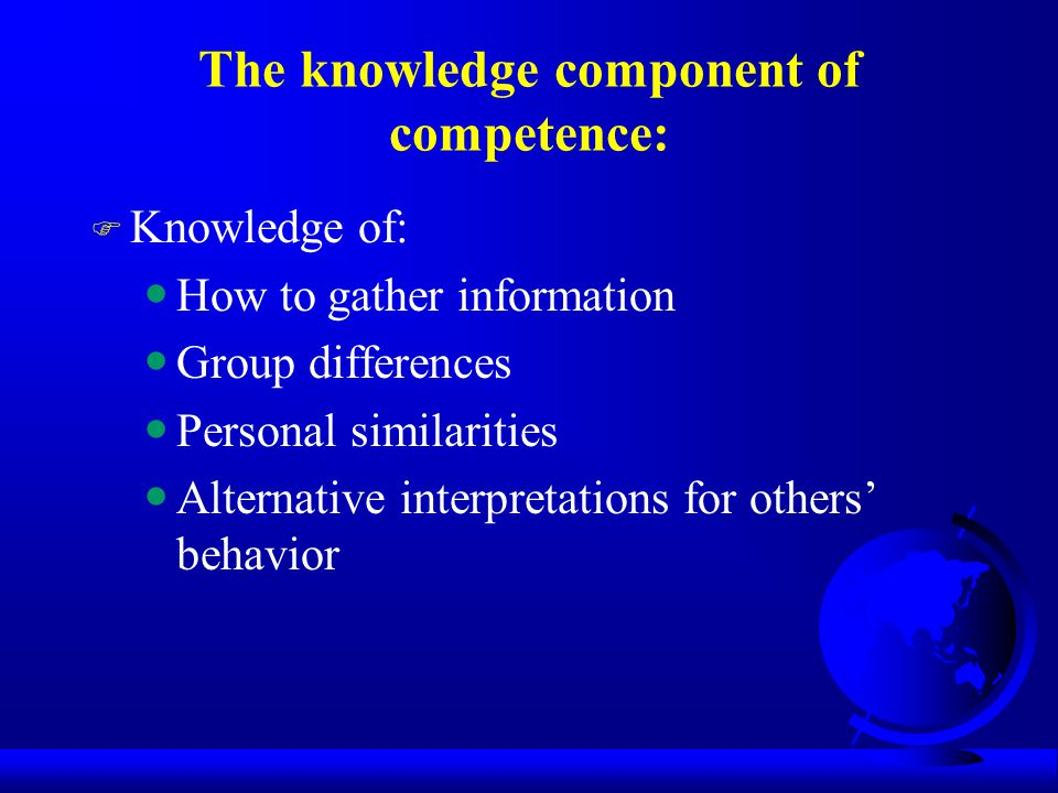 The knowledge component of competence: