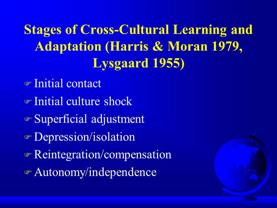 Stages of Cross-Cultural Learning and Adaptation (Harris & Moran 1979, Lysgaard 1955)