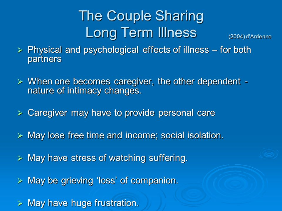 The Couple Sharing Long Term Illness