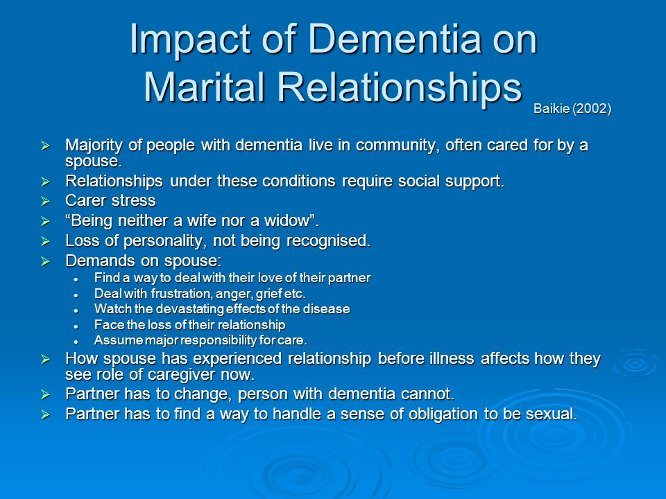 Impact of Dementia on Marital Relationships
