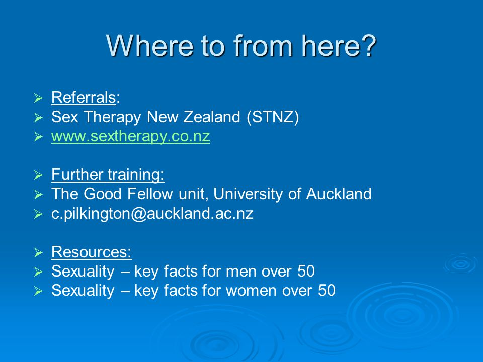 Where to from here Referrals: Sex Therapy New Zealand (STNZ)