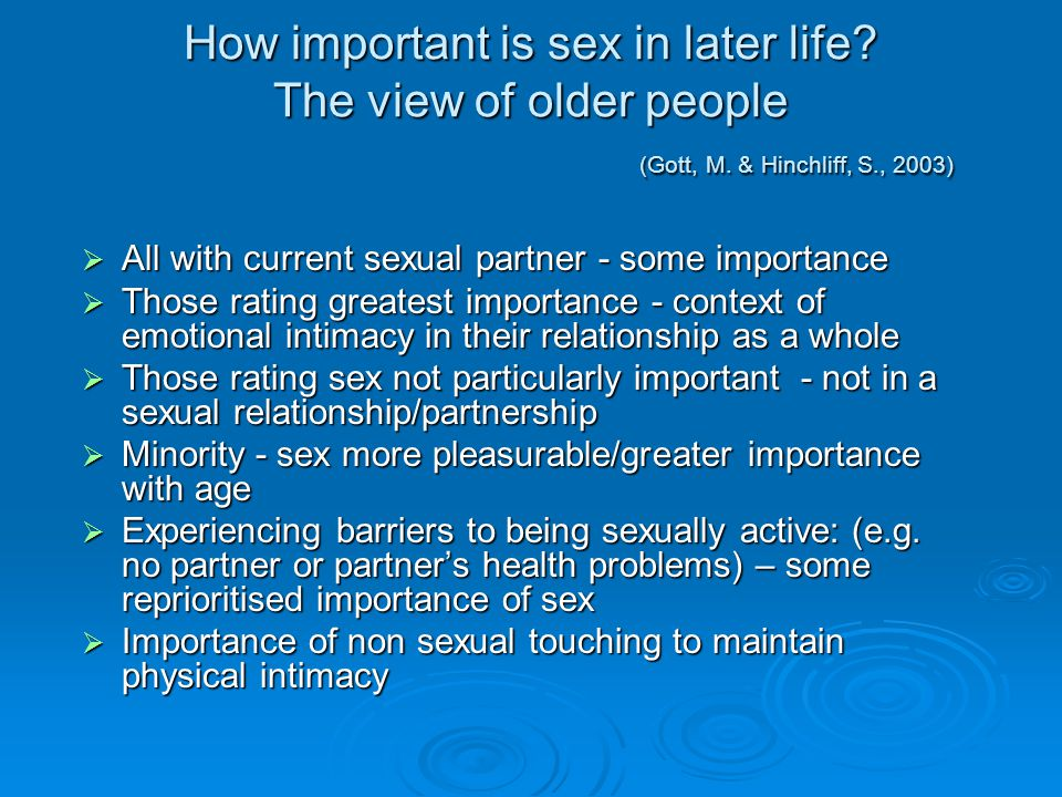 How important is sex in later life. The view of older people. (Gott, M