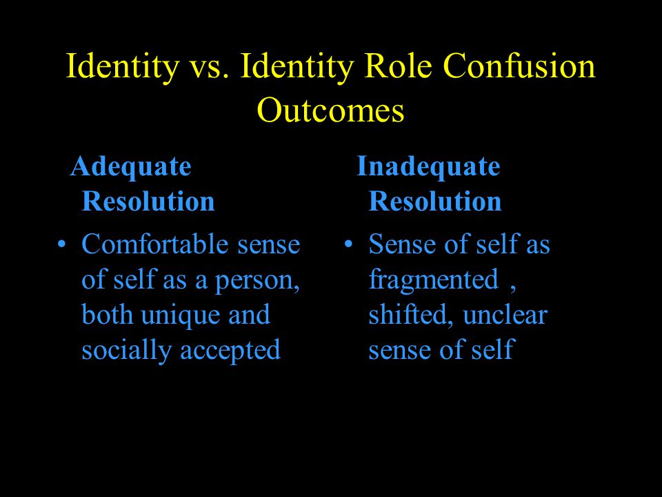 Identity vs. Identity Role Confusion Outcomes