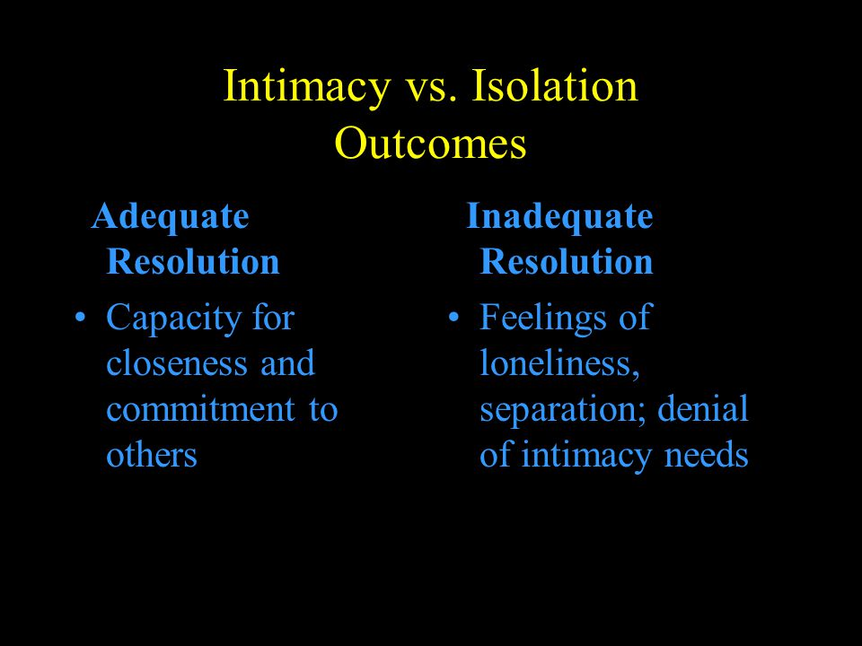 Intimacy vs. Isolation Outcomes