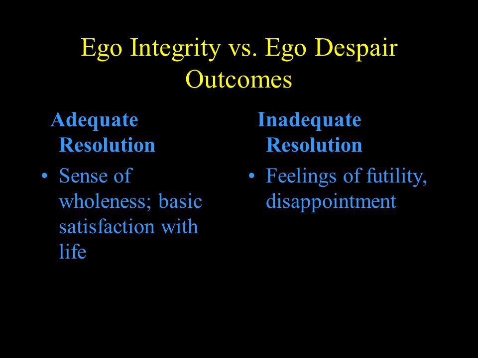 Ego Integrity vs. Ego Despair Outcomes