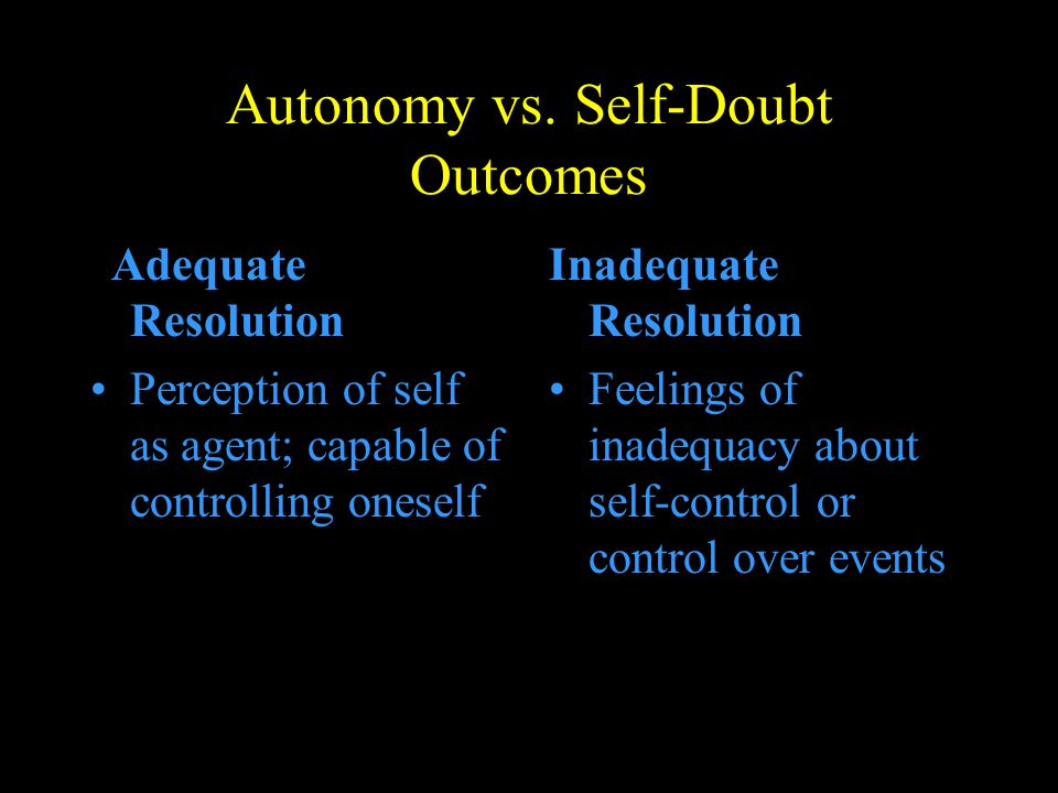 Autonomy vs. Self-Doubt Outcomes