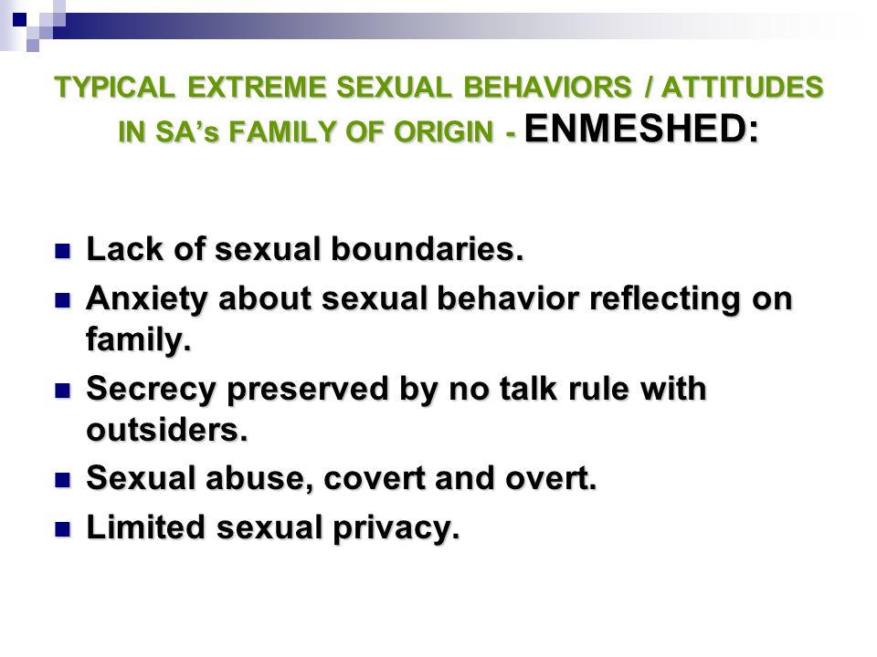 Lack of sexual boundaries.