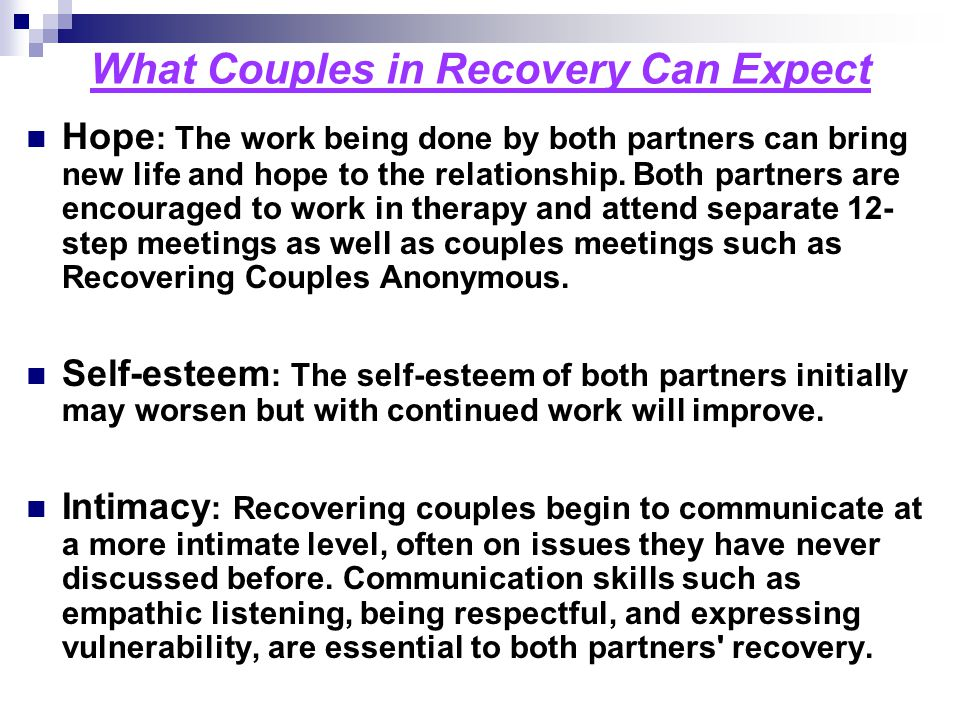 What Couples in Recovery Can Expect