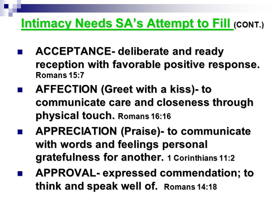 Intimacy Needs SA's Attempt to Fill (CONT.)