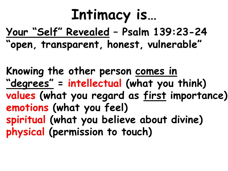 Intimacy is… Your Self Revealed – Psalm 139:23-24 open, transparent, honest, vulnerable