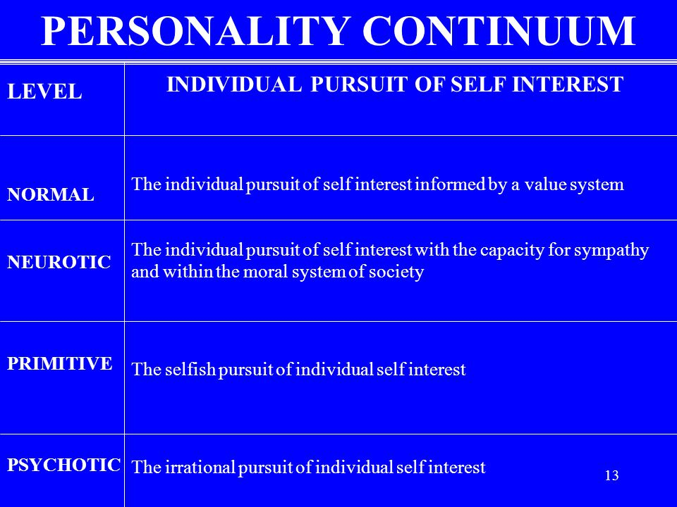 PERSONALITY CONTINUUM INDIVIDUAL PURSUIT OF SELF INTEREST