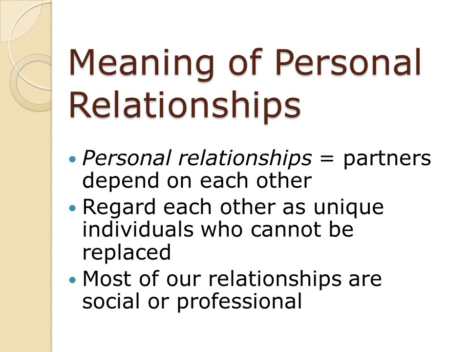 Meaning of Personal Relationships