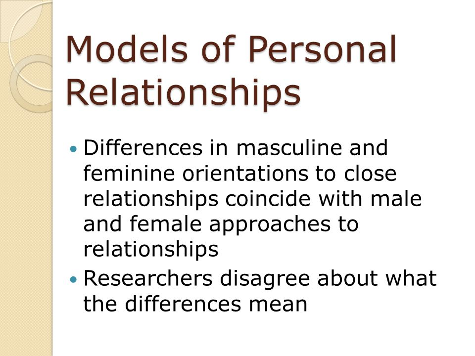 Models of Personal Relationships
