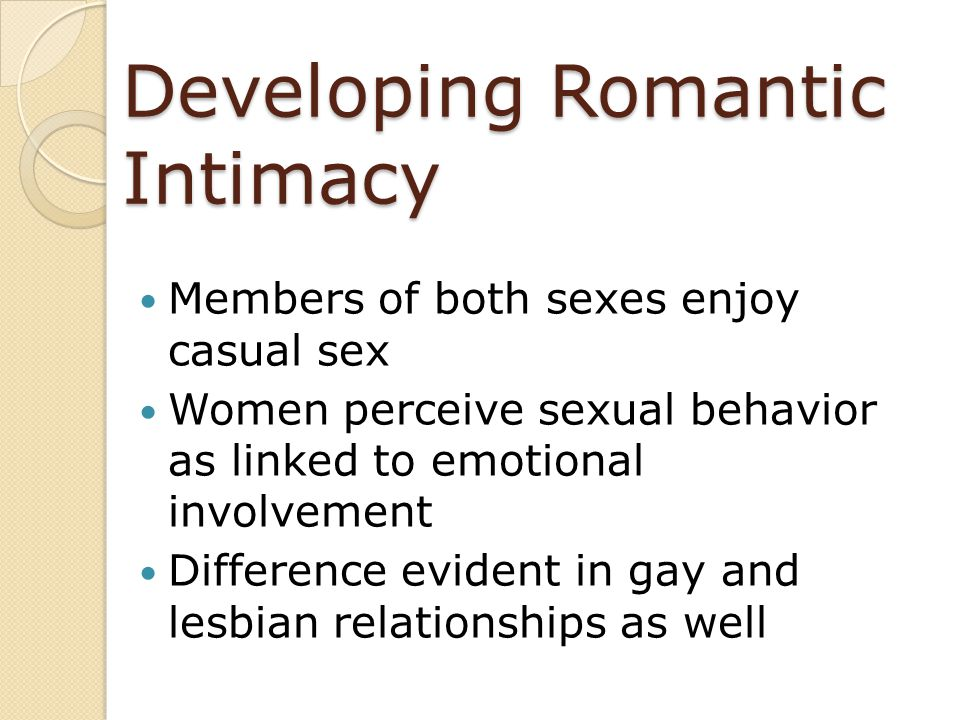 Developing Romantic Intimacy