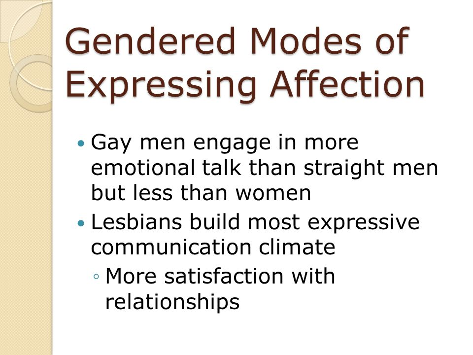 Gendered Modes of Expressing Affection