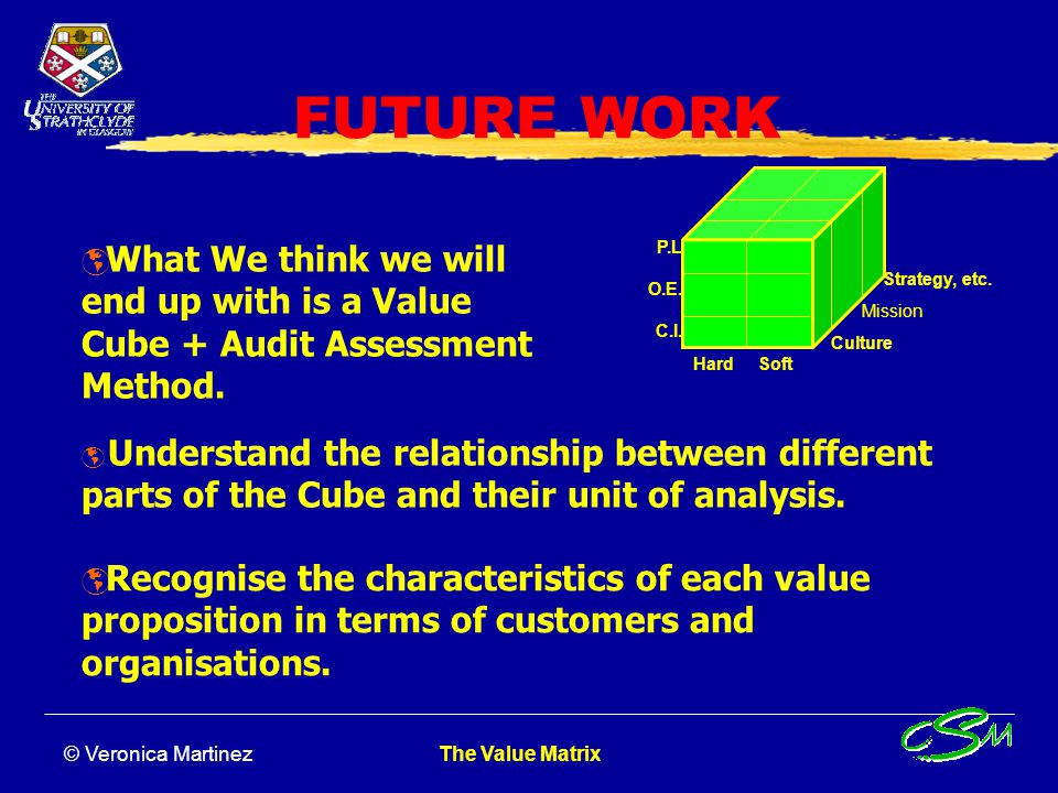 FUTURE WORK What We think we will end up with is a Value Cube + Audit Assessment Method. Hard Soft.