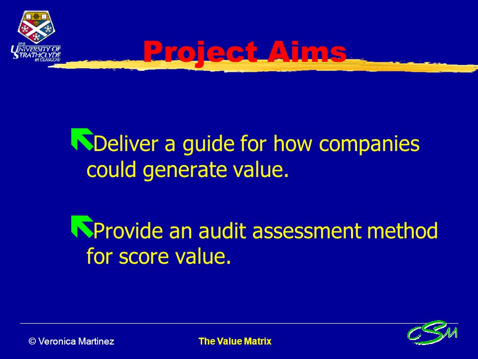 Project Aims Deliver a guide for how companies could generate value.