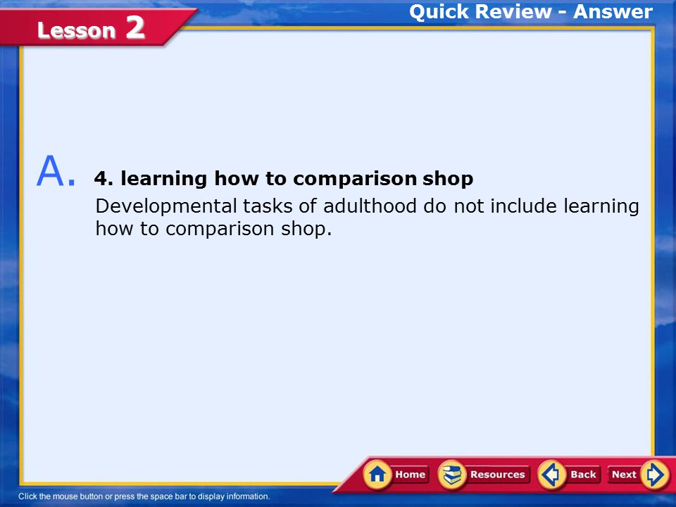 A. 4. learning how to comparison shop