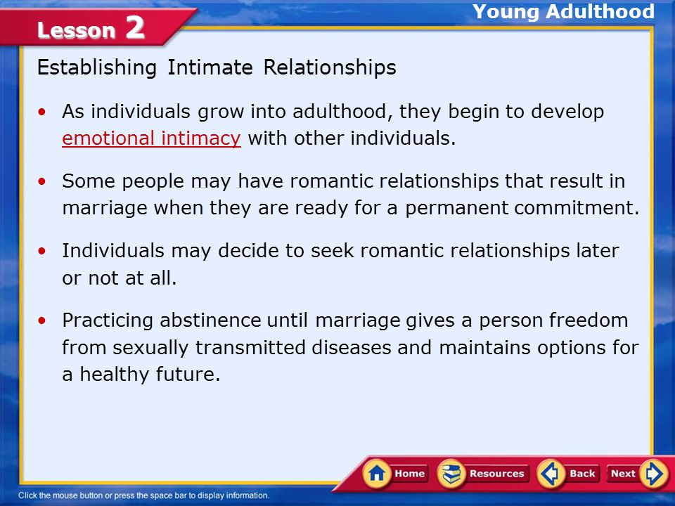 Establishing Intimate Relationships
