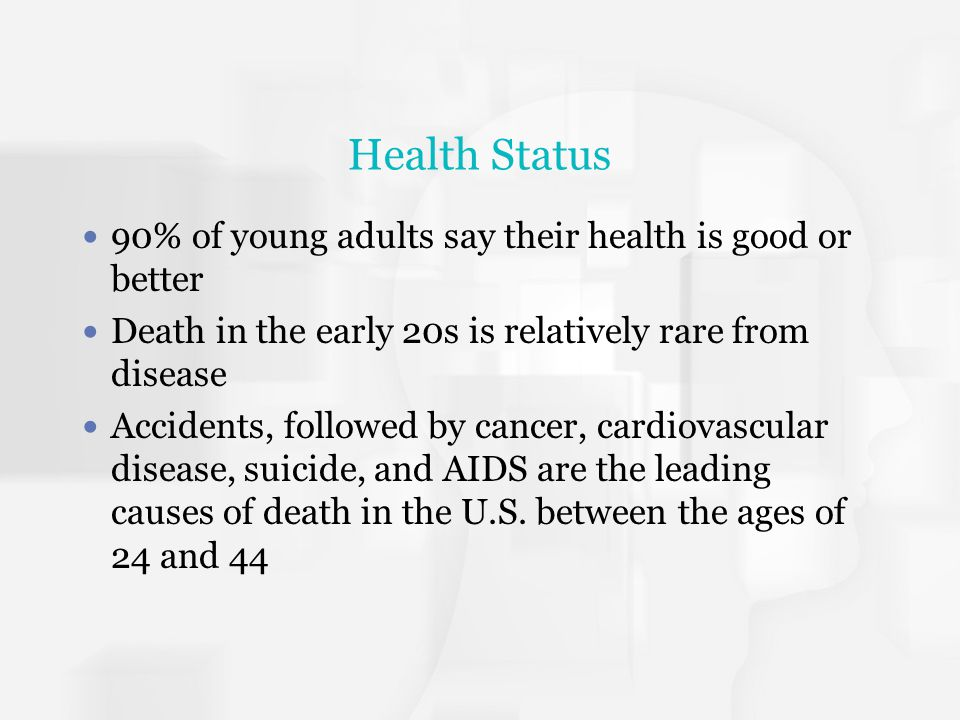 Health Status 90% of young adults say their health is good or better