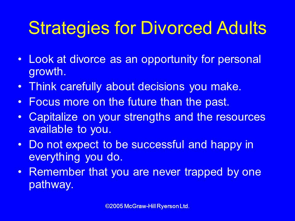 Strategies for Divorced Adults
