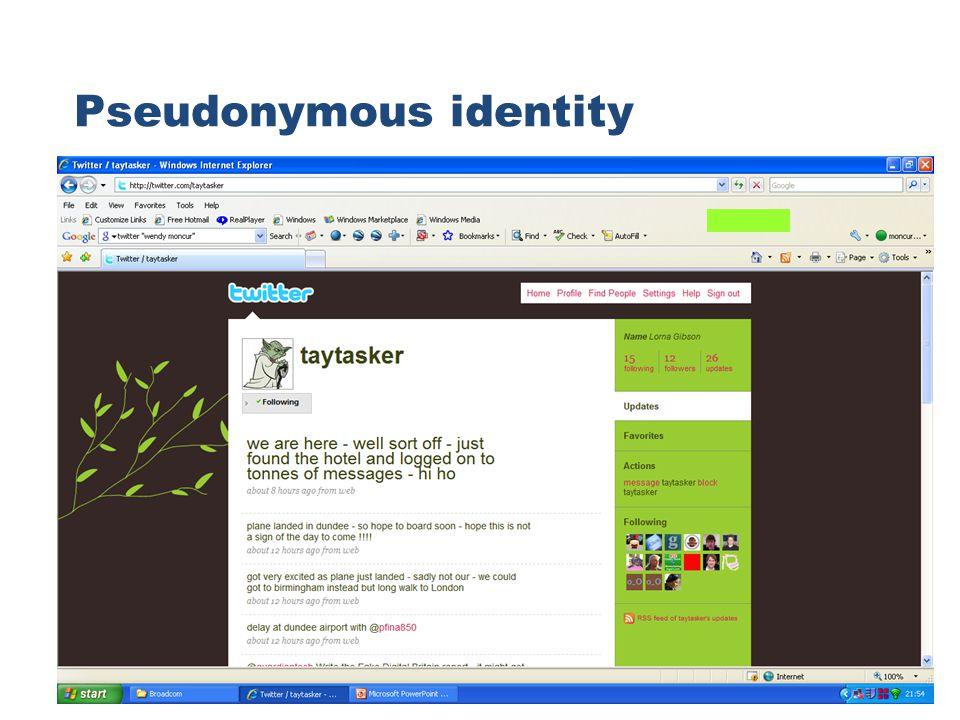 Pseudonymous identity