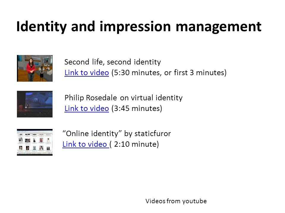 Identity and impression management