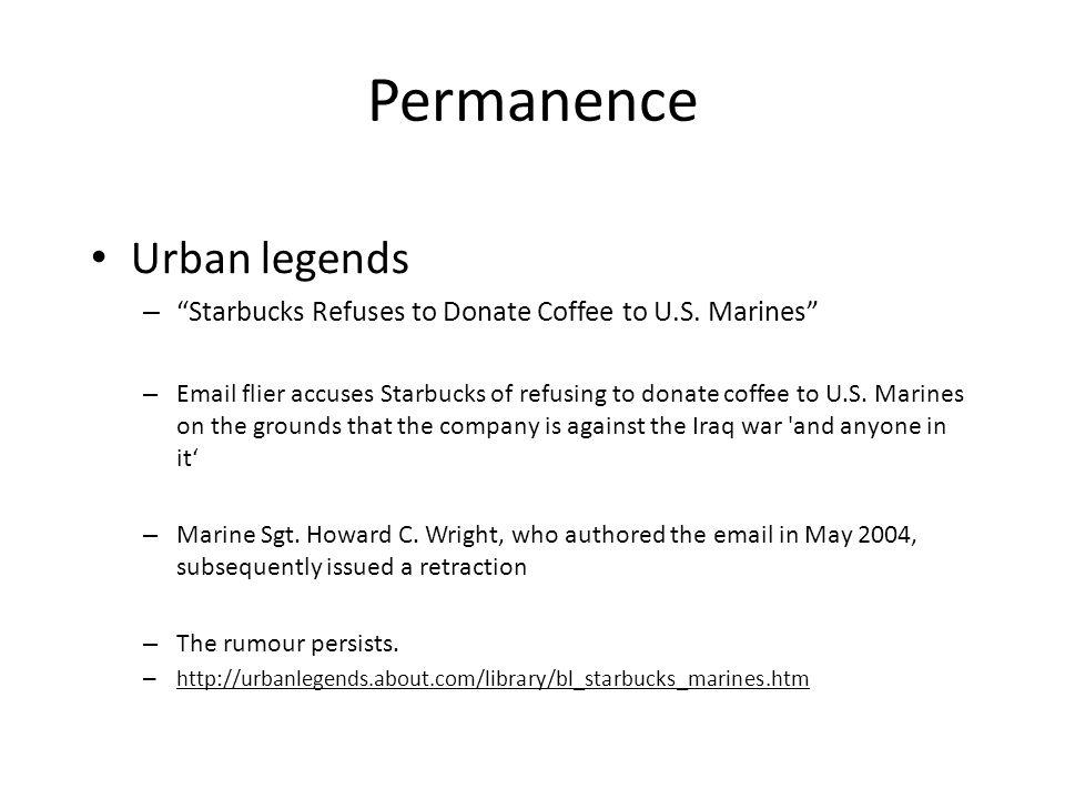 Permanence Urban legends