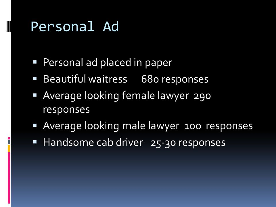 Personal Ad Personal ad placed in paper
