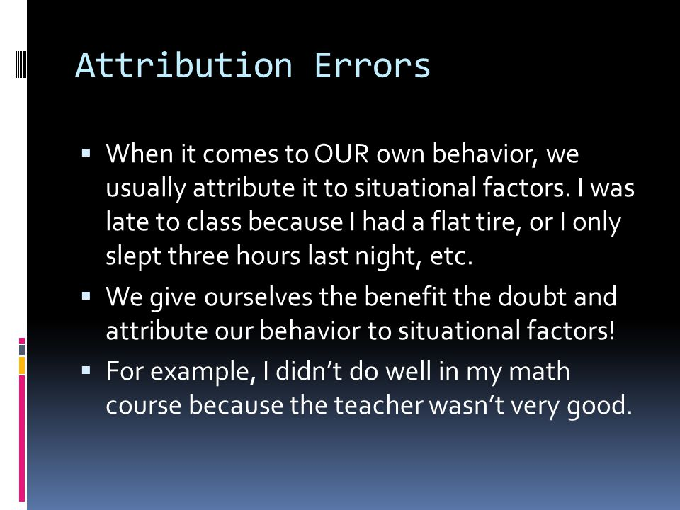 Attribution Errors