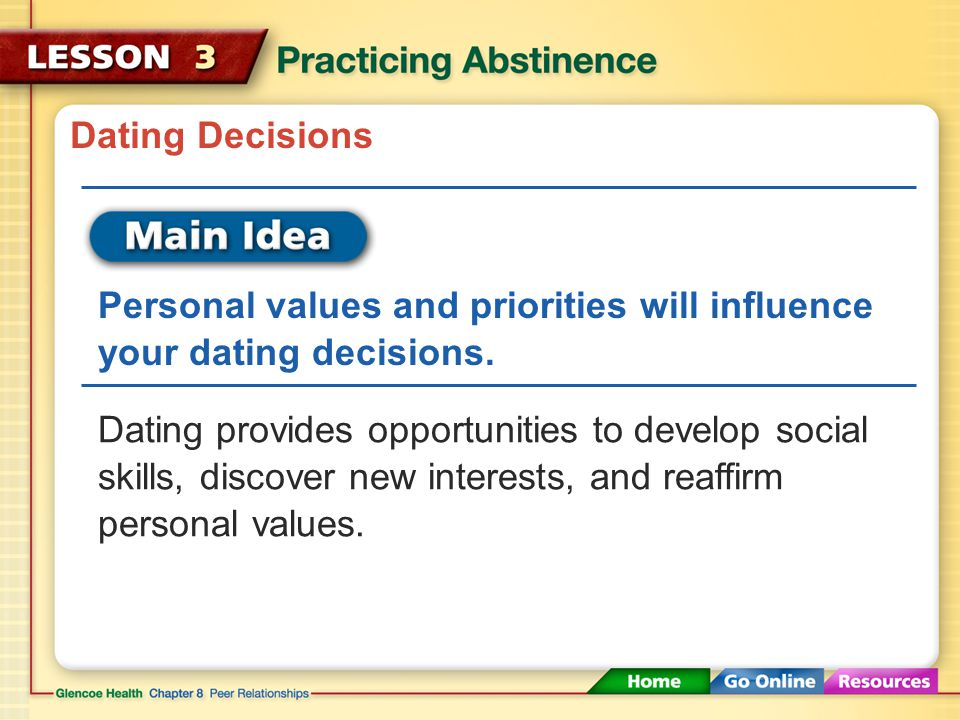 Dating Decisions Personal values and priorities will influence your dating decisions.