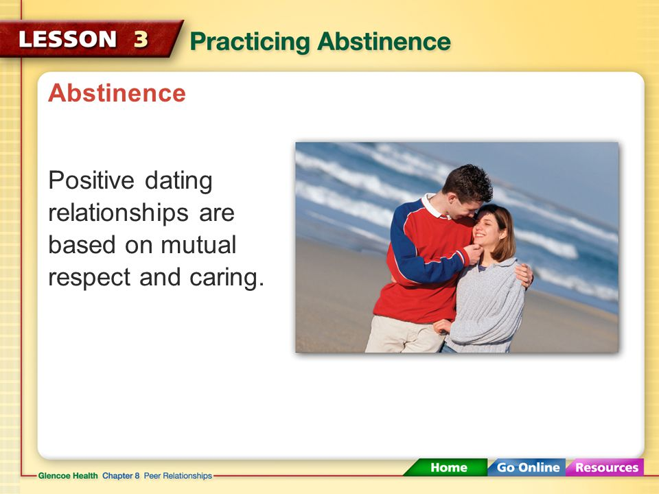 Abstinence Positive dating relationships are based on mutual respect and caring.