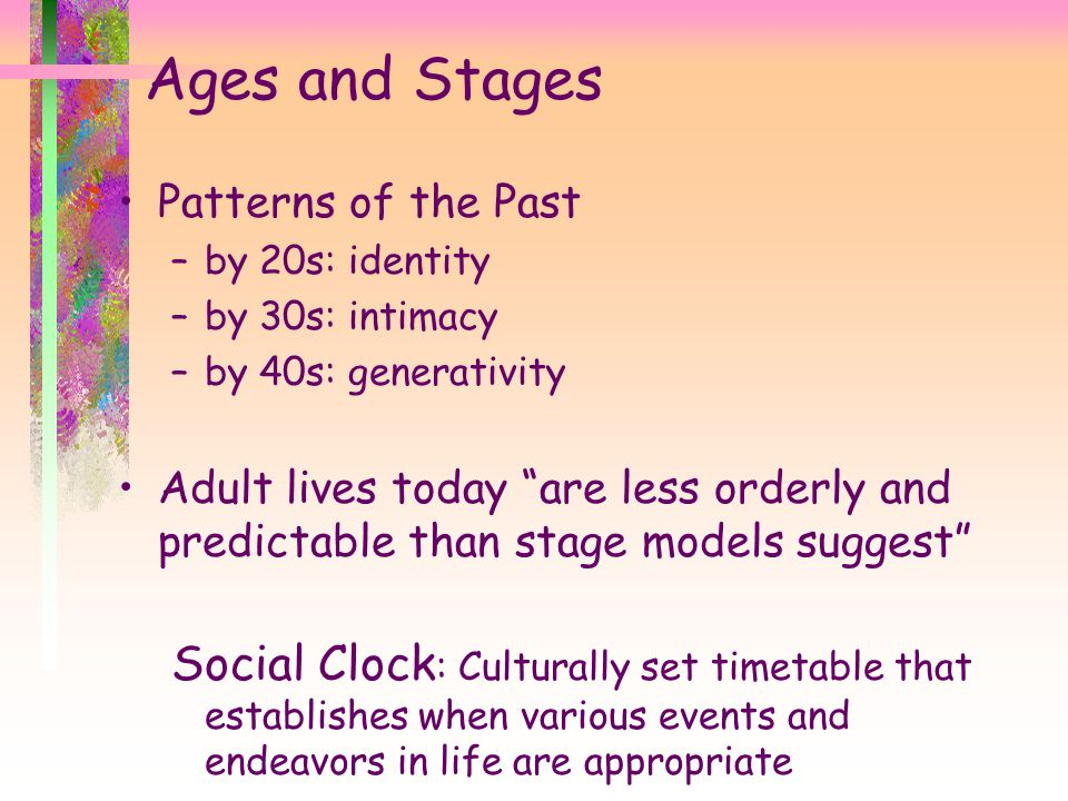 Ages and Stages Patterns of the Past. by 20s: identity. by 30s: intimacy. by 40s: generativity.