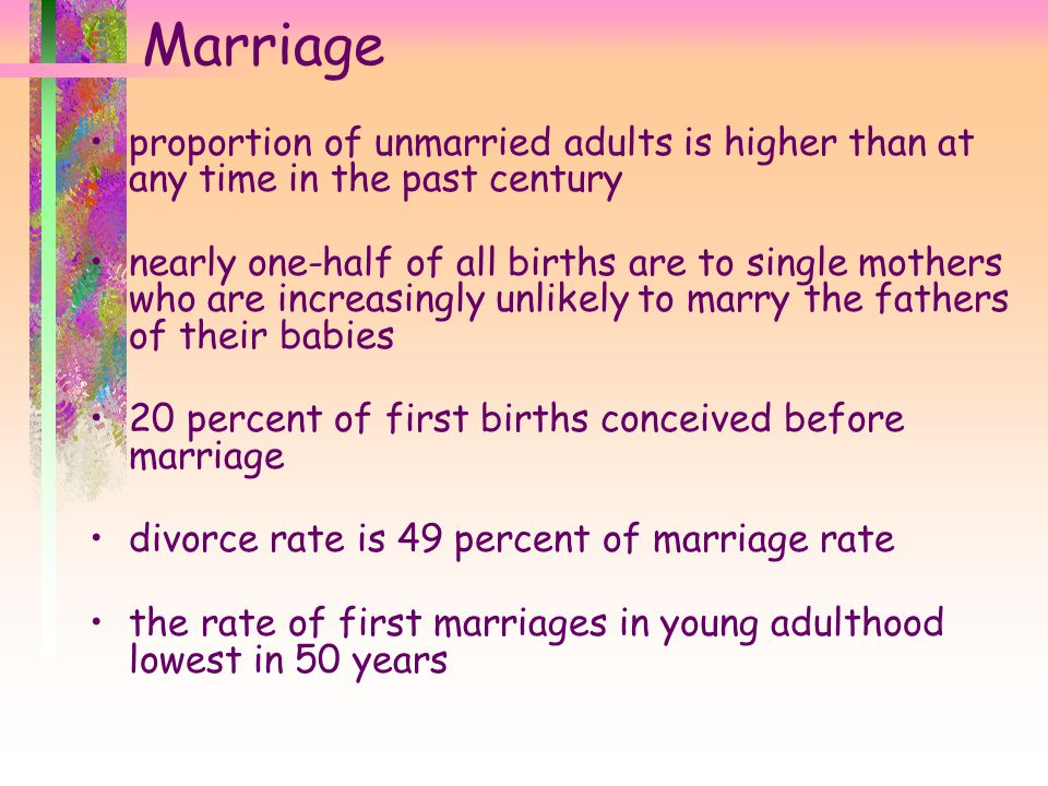 Marriage proportion of unmarried adults is higher than at any time in the past century.