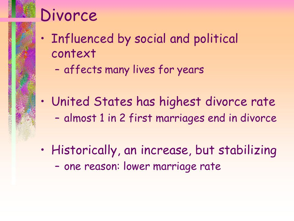Divorce Influenced by social and political context