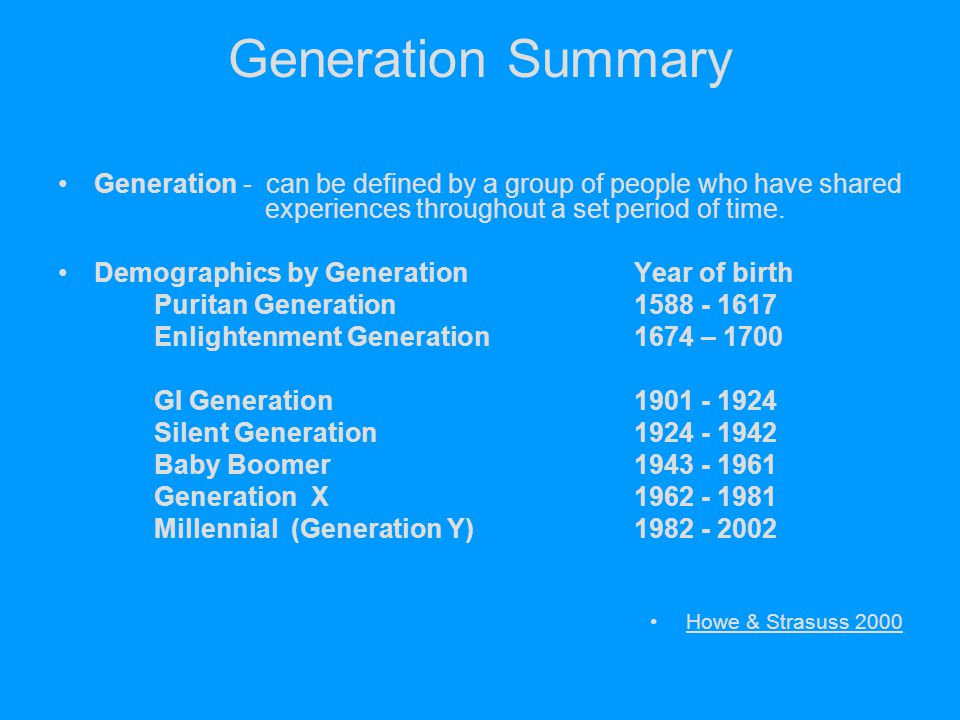 Generation Summary Generation - can be defined by a group of people who have shared experiences throughout a set period of time.
