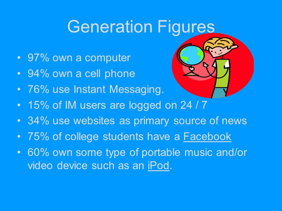 Generation Figures 97% own a computer 94% own a cell phone
