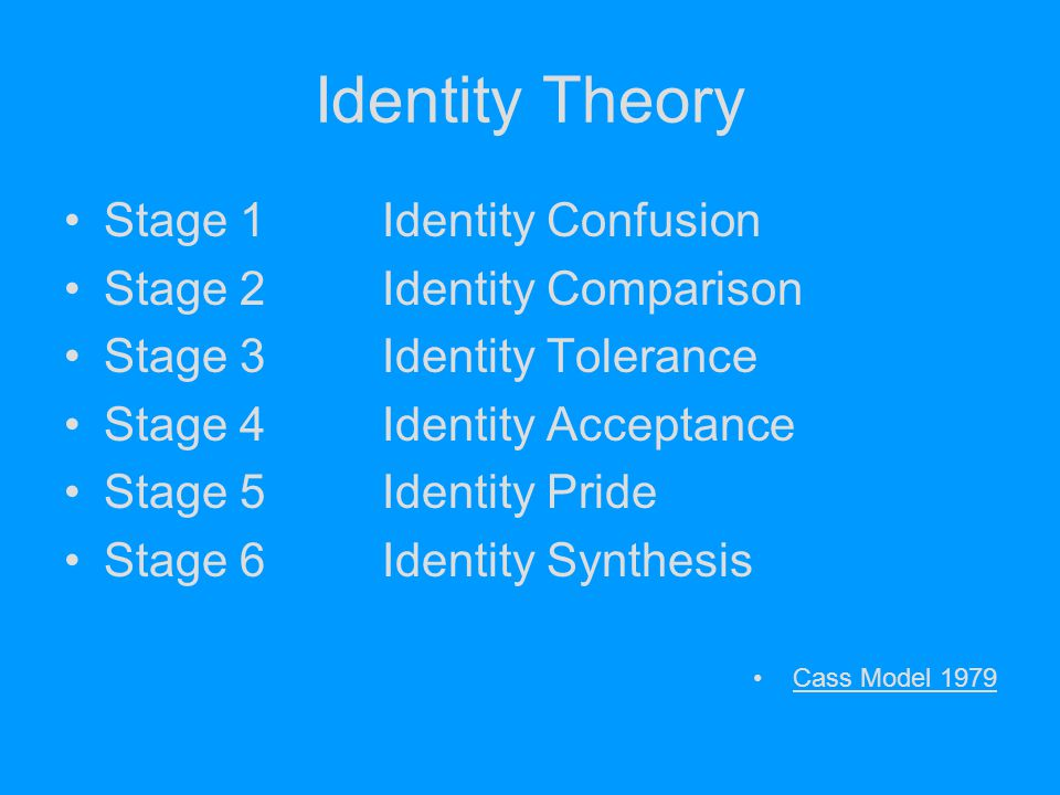 Identity Theory Stage 1 Identity Confusion Stage 2 Identity Comparison