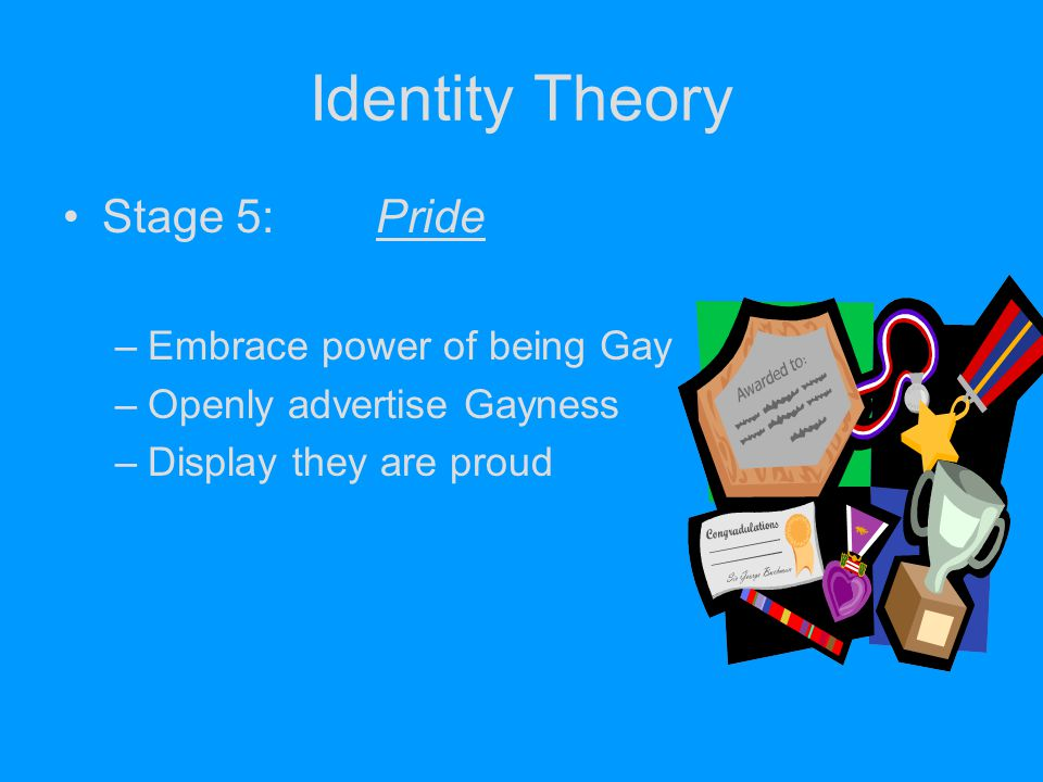 Identity Theory Stage 5: Pride Embrace power of being Gay