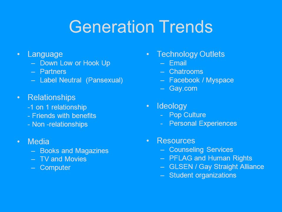 Generation Trends Language Relationships -1 on 1 relationship Media