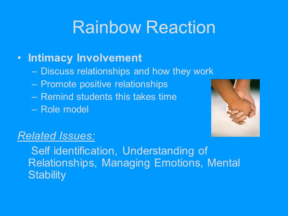 Rainbow Reaction Intimacy Involvement Related Issues: